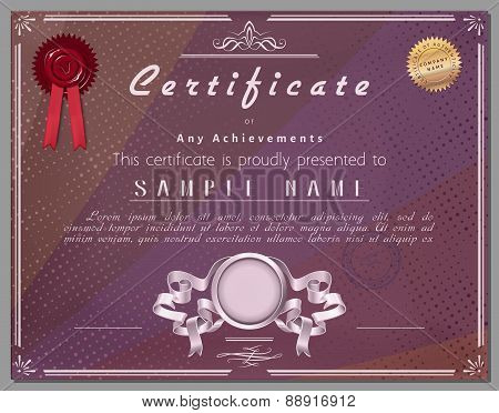 Gift Certificate, Diploma, Coupon, Award Of Course Completion Template With Dark Striped Background