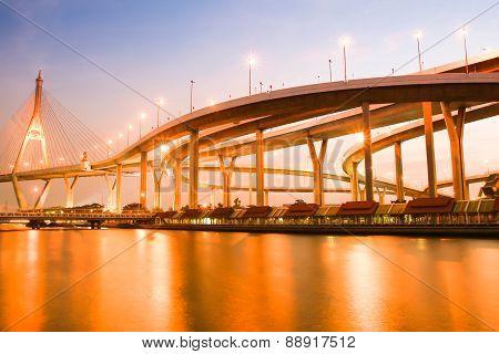 Night Bhumibol Bridge In Thailand
