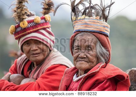 Old ifugao people in national dress next to rice terraces. Ifugao - the people in the Philippines. R