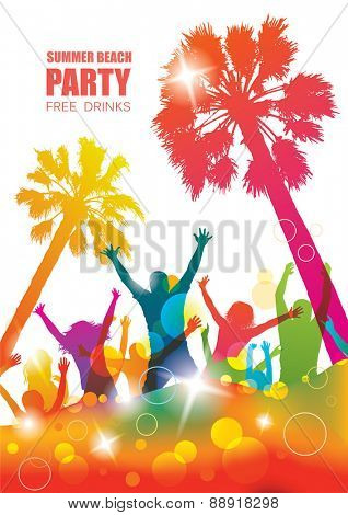 Party background with happy young people. Colorful tropical banner.