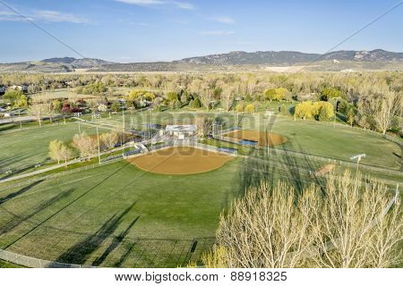 aerial view of a local public park with baseball fields in Fort Collins, Colorado, early spring