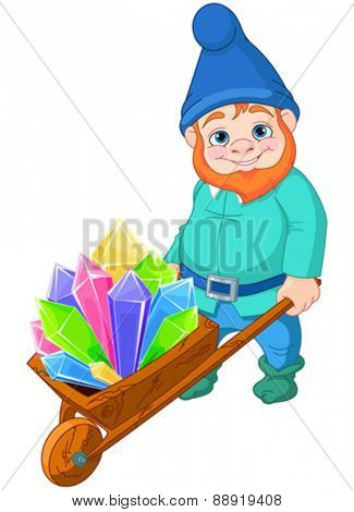 Illustration of gnome carries a wheelbarrow full of quartz crystals