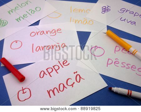 Making Language Flash Cards; Portuguese