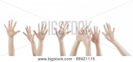 woman hands up with white