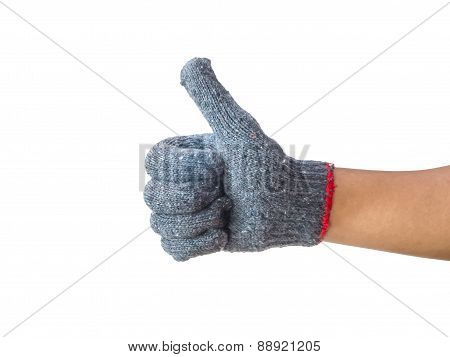 Worker Hand With Thumb Up After Success