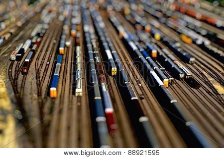 Aerial View Of Many Train Cars On Tracks