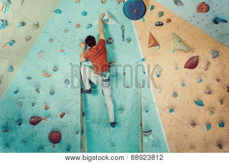 Climber Man Climbing Artificial Boulder