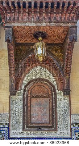 Cedar Wood Carved Moroccan Alcove