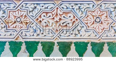 Decorative Alabaster Wall Carvings In A Moroccan Riad