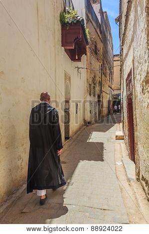 Narrow Street In Fez Medina In Morocco