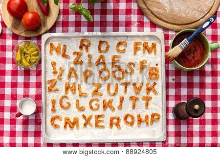 Griddle With Dough Letters