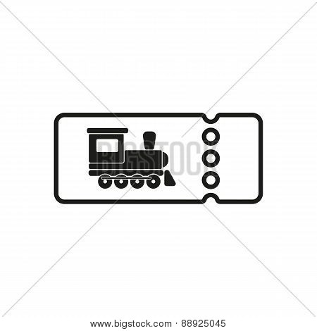 The Blank Train Ticket Icon. Travel Symbol. Flat
