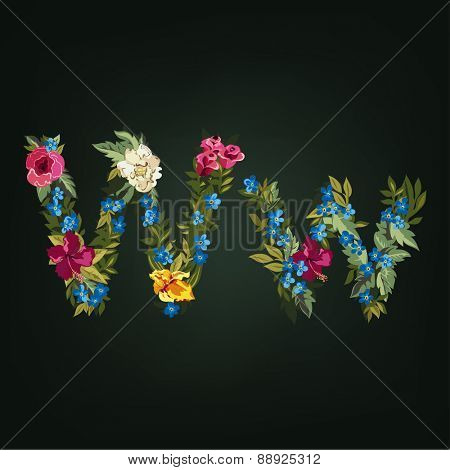W letter. Flower capital alphabet. Colorful font. Uppercase and Lowercase. Vector illustration.