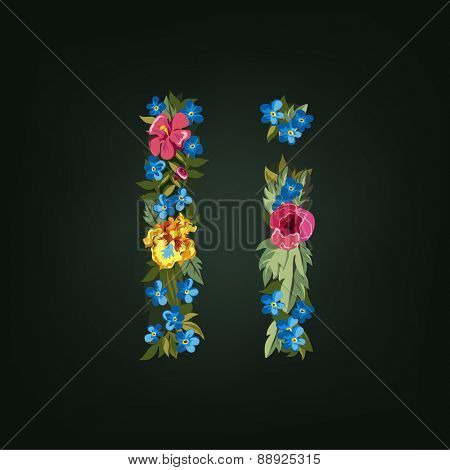 I letter. Flower capital alphabet. Colorful font. Uppercase and Lowercase. Vector illustration.