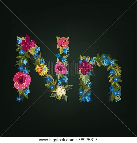 N letter. Flower capital alphabet. Colorful font. Uppercase and Lowercase. Vector illustration.