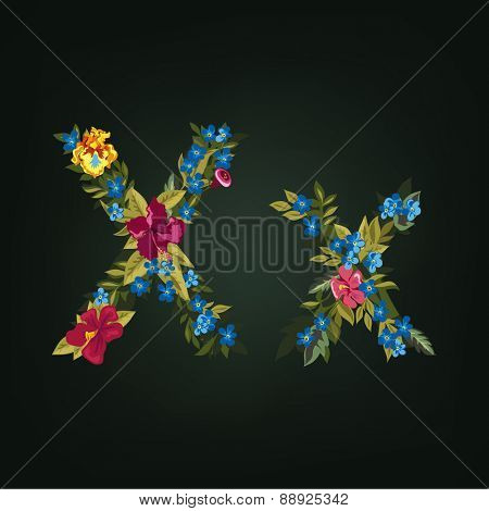 X letter. Flower capital alphabet. Colorful font. Uppercase and Lowercase. Vector illustration.