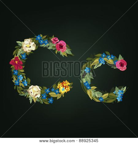 C letter. Flower capital alphabet. Colorful font. Uppercase and Lowercase. Vector illustration.