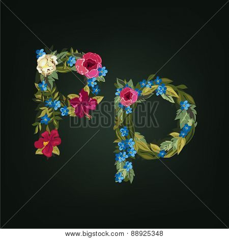 P letter. Flower capital alphabet. Colorful font. Uppercase and Lowercase. Vector illustration.