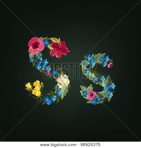 S letter. Flower capital alphabet. Colorful font. Uppercase and Lowercase. Vector illustration.