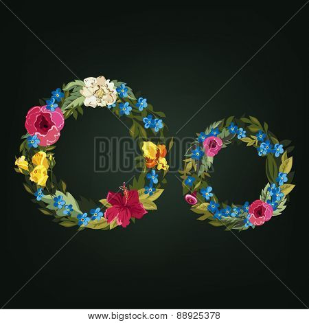 O letter. Flower capital alphabet. Colorful font. Uppercase and Lowercase. Vector illustration.