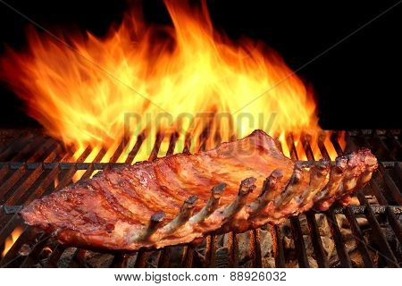 Bbq Baby Back Pork Ribs On The Hot Flaming Grill