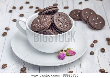 Chocolate Cookies With Filling In The Cup