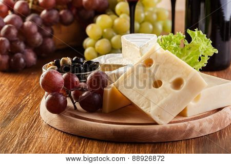 Cheese, Olive And Grapes