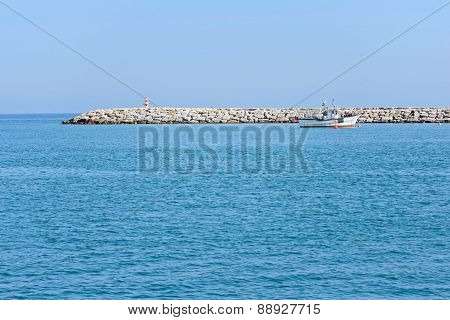 Seascape with blue sea and sky