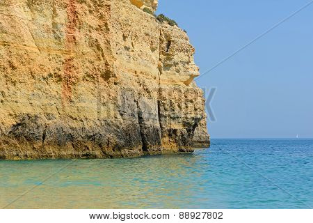 Colorful rocks on ocean