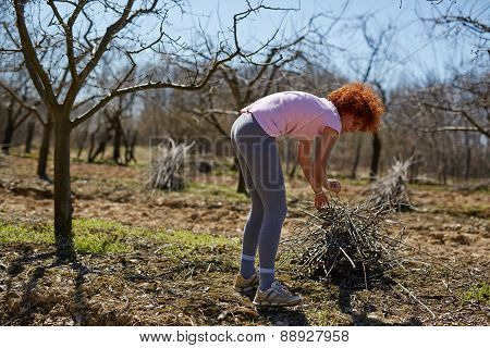 Woman Spring Cleaning The Orchard