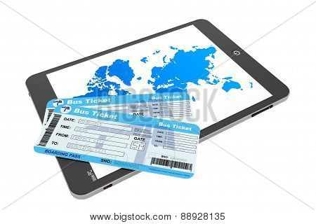 Online Booking Concept. Tablet Pc With Bus Tickets
