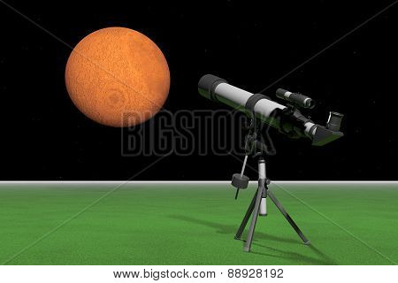 Telescope With A Sky And Red Planet