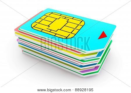Stack Of Mutlicolored Sim Cards