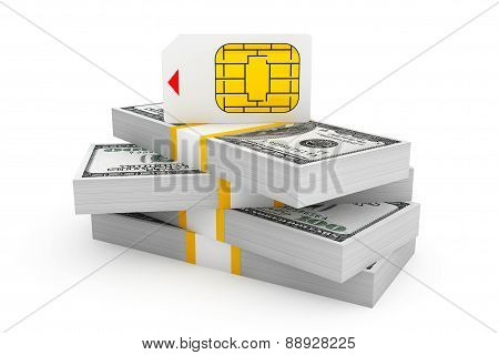 Sim Card For Mobile Phone Over Stack Of Dollar Bills