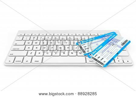 Online Booking Concept. Computer Keyboard With Bus Tickets