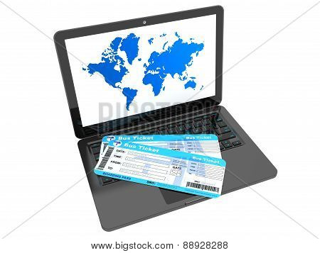 Online Booking Concept. Laptop With Bus Tickets