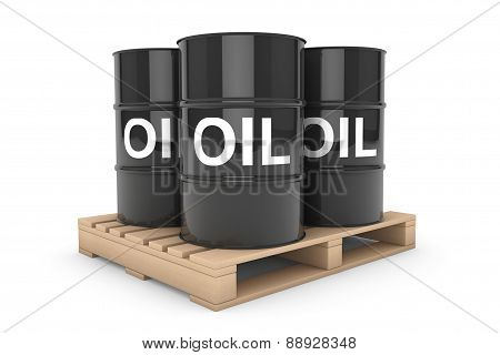 Black Oil Barrels Over Wooden Pallet