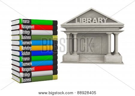 Closeup Library Building With Books