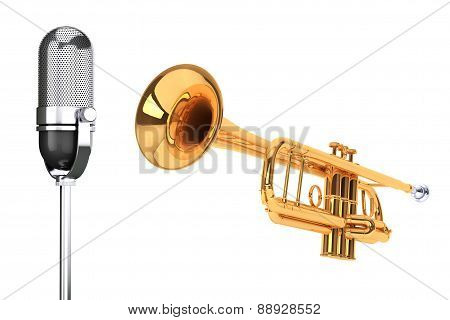 Polished Brass Trumpet With Vintage Silver Microphon