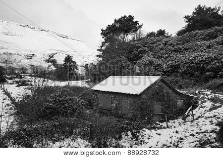Abandoned Hut In Winter Wodland Landscape In Black And White
