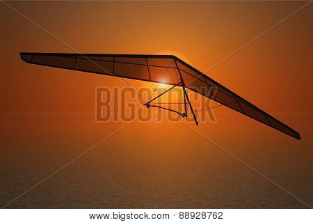 Extreme Closeup Hang Gliding On The Sunset