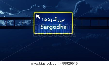 Sargodha Pakistan Highway Road Sign At Night