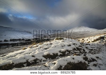 Beautiful Landscape Of Snow Covered Mountains During Late Afternoon In Winter