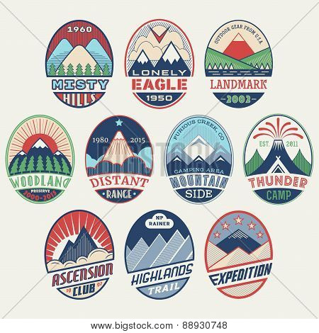 Mountain badge set2color