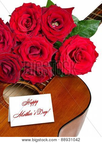 Red Roses On Acoustic Guitar Isolated For Mother's Day