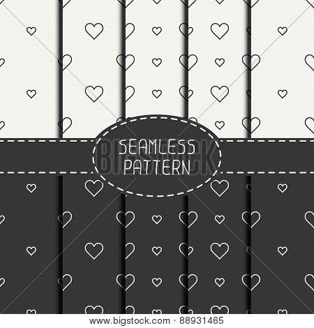Set of monochrome romantic geometric seamless pattern with hearts. Collection of wrapping paper. Scr