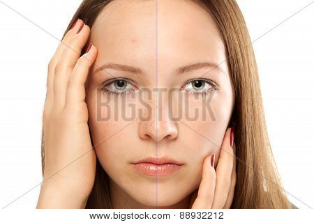comparison portrait of a girl