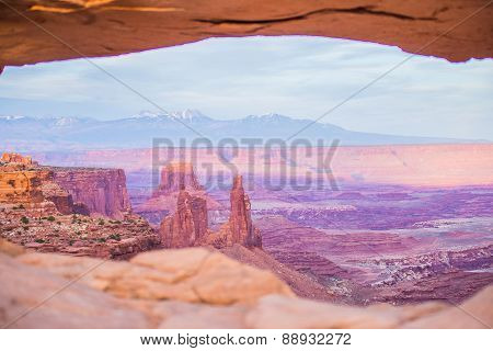 Famous Mesa Arch In Canyonlands National Park Utah  Usa