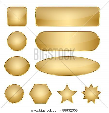 Blank Elegant Golden Vector Web Buttons