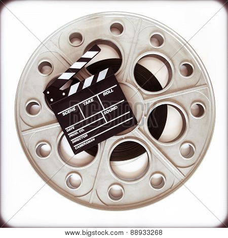 Original Old Movie Reel For 35Mm Film Projector With Clapper Board
